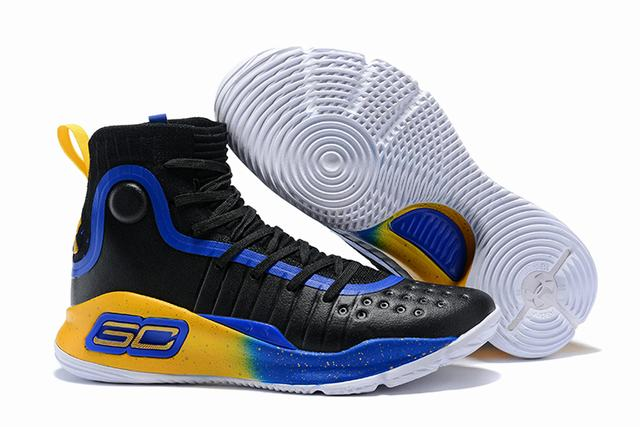 Curry 4 Shoes High Black Yellow Royal Blue