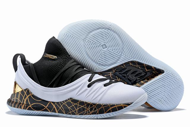 Curry 5 Shoes Black White Gold