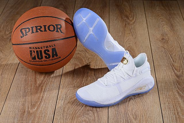Curry 6 Shoes Low White Gold Blue